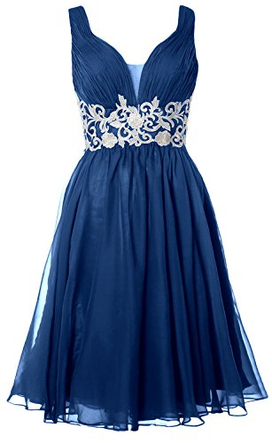 MACloth Women Straps V Neck Cocktail Dress 2017 Short Wedding Party Formal Gown (4, Teal) (80s Fancy Dress Plus Size)