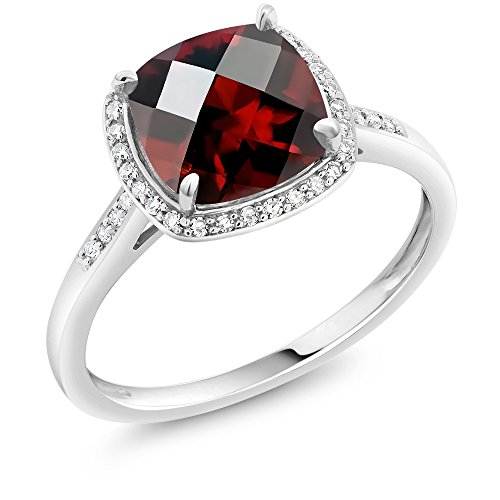 Gold White Garnet Ring (2.40 Ct Cushion Checkerboard Red Garnet 10K White Gold Engagement Ring with Accent Diamonds (Engagement Ring Size 9))