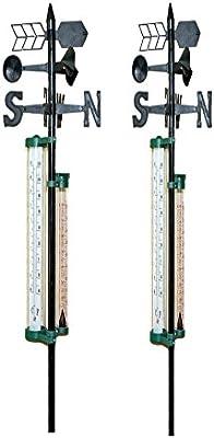 Veleta con pluviómetro y termómetro estación meteorológica para jardín y césped: Amazon.es: Jardín