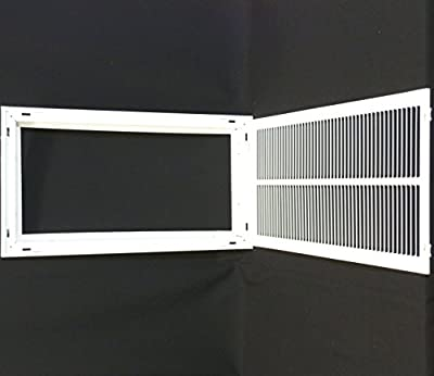 "12"" X 24 Steel Return Air Filter Grille for 1"" Filter - Removable Face/Door - HVAC DUCT COVER - Flat Stamped Face - White [Outer Dimensions: 14.5""w X 26.5""h]"