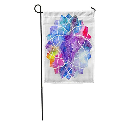 Shape Sacral (Semtomn Garden Flag Lotus Chakra Sahasrara Ayurvedic Symbol of Buddhism Watercolor Cosmic Yoga Home Yard House Decor Barnner Outdoor Stand 12x18 Inches Flag)