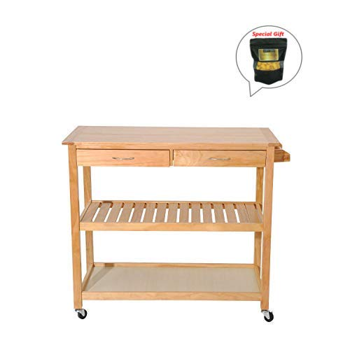 - 36'' Wooden Rolling Kitchen Trolley Island Storage W/Drawers Burlywood GET SPECIAL GIFT Organic Silkworm Cocoon