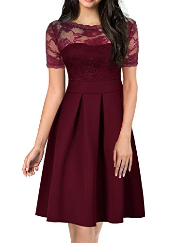 Fit and Flare Lace Dress for Elegant Women Chic 60s A Line Wedding Party Ladies Church Dresses Special Occasions with Sleeve 256 (XL, ()