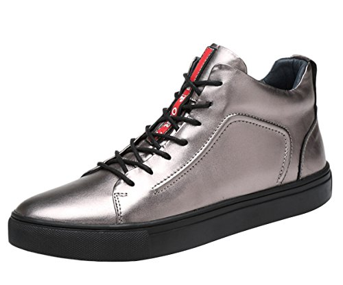 SK Studio Fashion Sneakers Leather Casual Shoes for Men Sliver