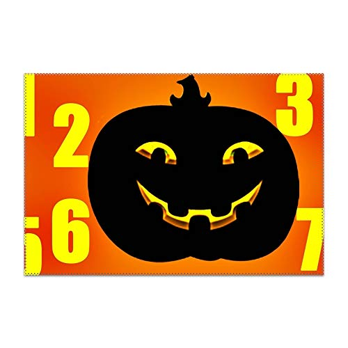 FLOOM Non-Slip Insulation Halloween Counting Placemat Washable Table Mats Easy to Clean -