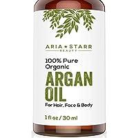 Aria Starr Beauty Aceite orgánico de argán para el cabello, la piel, la cara, las uñas, la barba y las cutículas - El mejor antienvejecimiento marroquí puro al 100%, Secreto de belleza antiarrugas, Crema hidratante prensada en frío 1 oz