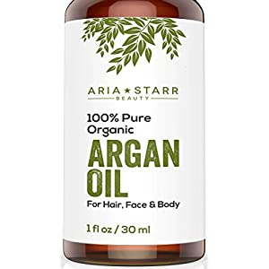 Aria Starr Beauty ORGANIC Argan Oil For Hair, Skin, Face, Nails, Beard & Cuticles - Best 100% Pure Moroccan Anti Aging, Anti Wrinkle Beauty Secret, EcoCert Certified Cold Pressed Moisturizer 1oz