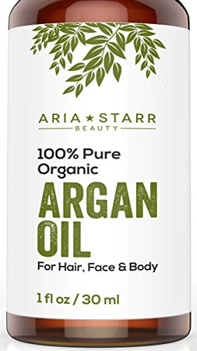 Aria Starr Beauty ORGANIC Argan Oil For Hair, Skin, Face, Nails, Beard & Cuticles - Best 100% Pure Moroccan Anti Aging, Anti Wrinkle Beauty Secret, Certified Cold Pressed Moisturizer - Face Long For Beard