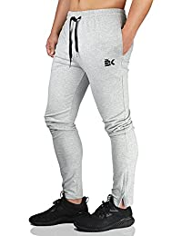 Mens Zip Joggers Pants - Casual Gym Workout Track Pants Comfortable Slim Fit Tapered Sweatpants Pockets