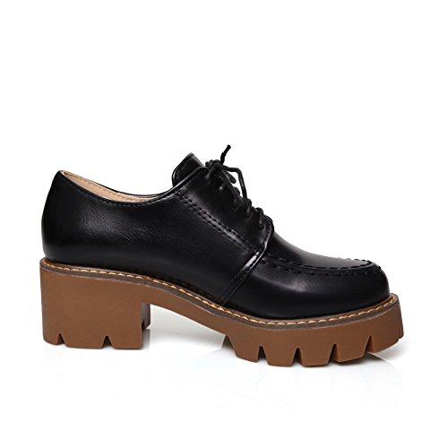 BalaMasa Girls Solid Solid kitten-heels imitato in pelle pumps-shoes, Nero (Black), 35