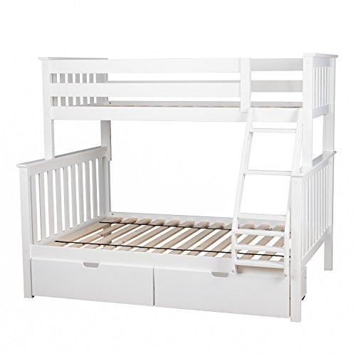 max u0026 lily solid wood twin over full bunk bed with under bed storage drawers