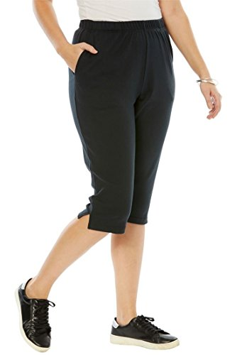 (Roamans Women's Plus Size Soft Knit Capri Pant - Black,)