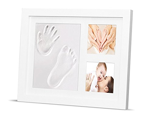 Newborn Baby Handprint Kit & Footprint Photo Frame for Newborn Girls and Boys, Shower Gift, Best Infant Clay Keepsake Gifts for Wall Decoration & (Clay Oak Mold)