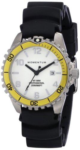 Omega Quartz Bracelet - Women's Quartz Watch | M1 Mini by Momentum | Stainless Steel Watches for Women | Dive Watch with Japanese Movement & Analog Display | Water Resistant ladies watch with Date - White / Yellow Rubber