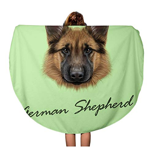 Semtomn 60 Inches Round Beach Towel Blanket Red Breed German Shepherd Dog Portrait of on Green Travel Circle Circular Towels Mat Tapestry Beach Throw