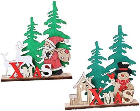 Amosfun 2 piezas de madera de mesa de navidad centros de mesa ...