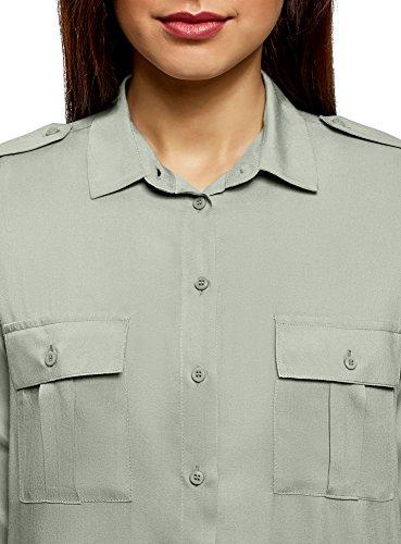 Donna Ultra Basic 6000n Verde Viscosa Camicetta Taschini in oodji con pq5PH7w5x