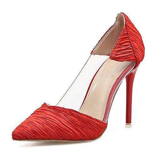 Crystal Bowknot Estate Bootie Rhinestone Rosso Similpelle Stiletto Primavera Heel Novità per Stivali DIMAOL Donna Comfort Tacchi Scarpe Moda Matrimoni Z6qn1A4