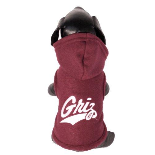 NCAA Montana Grizzlies Polar Fleece Hooded Dog Jacket, Small Collegiate Polar Fleece