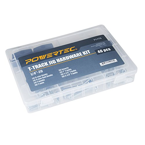 POWERTEC 71173 Jig and Fixture T-Track Hardware Kit w/Knobs and 1/4-20 Threads | 46 Piece Set