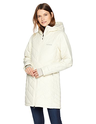 Columbia Heavenly Long Hooded Jacket, X-Large, Light Bisque