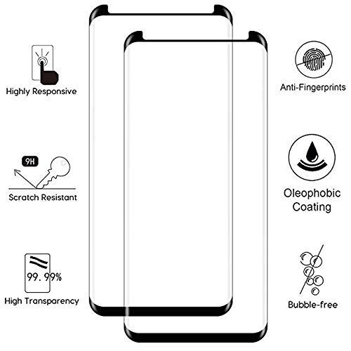 EcoPestuGo Compatible (Black) for Galaxy S9 Plus Tempered Glass Screen Protector, EcoPestuGo [2 Pack][Half Screen] Case Friendly,Anti-Scratch,Anti-Fingerprint,Bubble Free Compatible S9 Plus by EcoPestuGo (Image #4)
