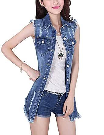 Tanming Women's Sleeveless Button Down Ripped Denim Jean Vest Waistcoat (X-Small, Blue)