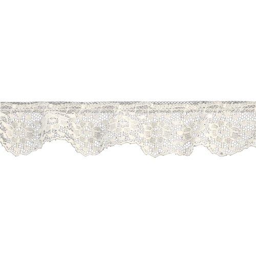 Belagio Enterprises 1-1/4-inch Gathered Floral Lace Trim 50 Yards, Ivory