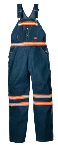 Bib Overalls Hi Back Zipper - Dickies Men's Enhanced Visibility Bib Overall Non-Ansi, Indigo Blue, 30x30