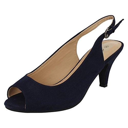 Ladies Anne Michelle Wide Fit Slingbacks F10593 Navy (Blue) X79lQ