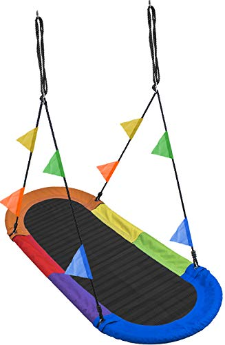 Sorbus Saucer Swing Surf – Kids Indoor/Outdoor Giant Oval Platform Swing Mat – Great for Tree, Swing Set, Backyard, Playground, Playroom – Accessories Included – Multi-Color Rainbow (Oval Surf Swing) by Sorbus (Image #3)
