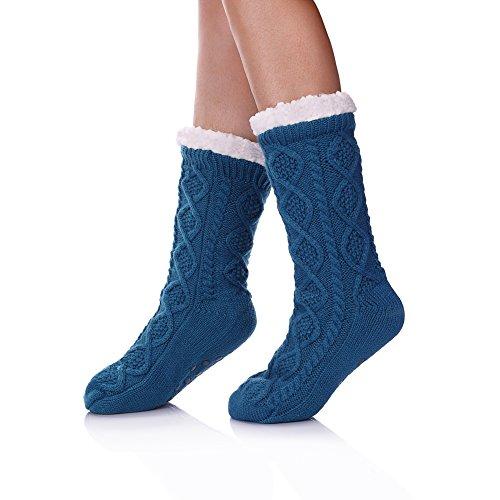 Soft Warm Cozy Fuzzy Fleece lined Twist Non-Slip Winter Christmas gift Slipper Socks (Turquoise) ()