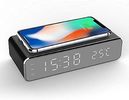 YETE Despertador Digital con Espejo HD 2 en 1 con Cargador Inalámbrico Qi para Teléfono Y Termómetro, Adecuado para Dormitorio, Mesita de Noche, Dormitorio, Regalo