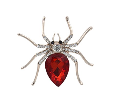 [Totoroforet Gold-plating Zircon Spider Brooch/ Pin Suits on Lady's Shirt and Suit-Passionate Red] (Menorah Dog Costume)