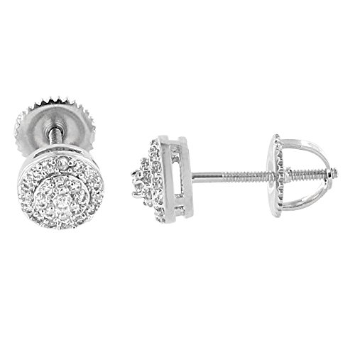 Round Halo Design Earrings 14K White Gold Finish Lab Diamonds Screw Back Studs (14k Gold Design Earrings)