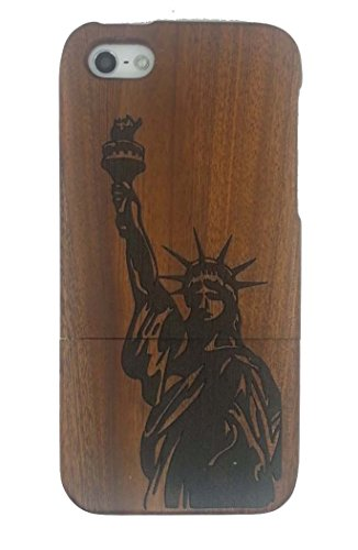 Unique Statue of Liberty Pattern Eco-Friendly 100% Hand-made Real Natural Wood Hard Shell Case for iPhone 5/5s (GMWD-5GS-12)