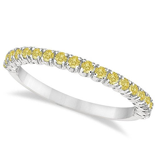 Half-Eternity Pave-Set Thin Yellow Diamond Stack Ring Palladium (Palladium Yellow Ring)