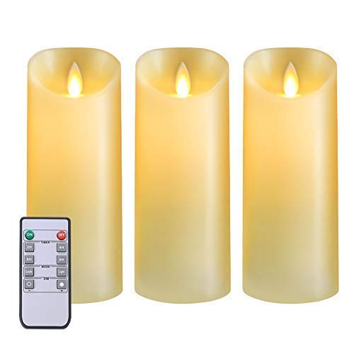 5PLOTS Real Wax Flameless Candles(D3×H7) - Amber Yellow LED Candles and Battery Candles - Indoor and Outdoor Battery Operated with Remote Control Timer - Battery Operated, Moving Wick - Set of 3