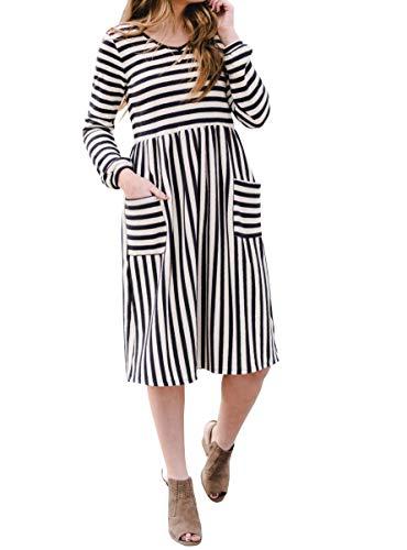 Foshow Womens Tank Dress Striped Midi Sleeveless Casual Summer Beach Dresses with Pockets