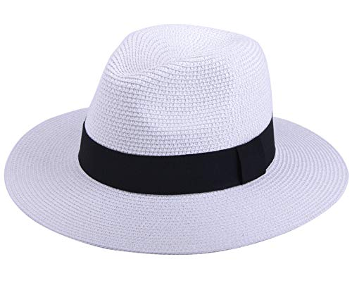 JOYEBUY Womens UPF50 Foldable Summer Straw Hat Wide Brim Fedora Sun Beach hat (Style A-White)