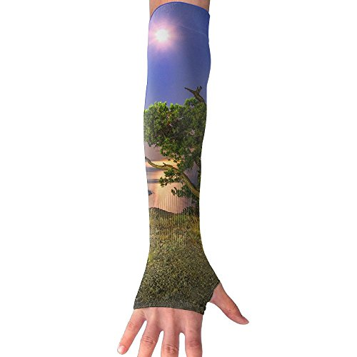 Night Tree Coast Lake Moon Ultra Long Non Finger UV Resistant Gloves Gloves Sleeve, For Women And Men To Provide Sunscreen Protection 1 Pairs, For Outdoor Sports, Driving, Bicycles by WEIFG