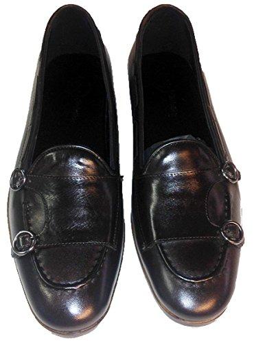 Garofalo Gianbattista scarpe uomo mocassini con doppia fibbia in vitello Marrone scuro