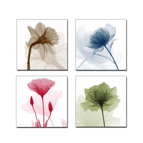 Wieco Art P4R1x1-07 4-Panel Canvas Print Flickering Flowers Modern Canvas Wall Art, 12 by 12-Inch Flower Panels Set