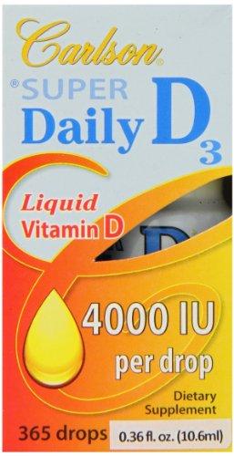 Carlson Labs Carlson laboratoires super Daily D3 4000IU Supplément, 10,6 ml, 0,36 Fluid Ounce