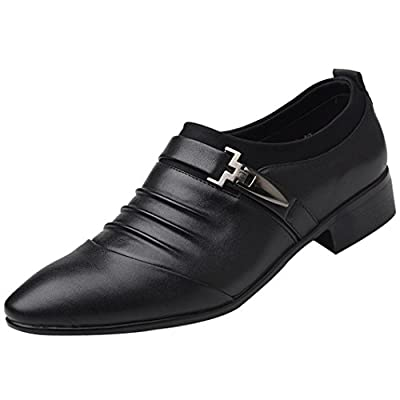 2018 Mens Classic Oxford Shoes Size 5.5-10.5,Leather Pointed Toe Dress Shoes for Business Wedding Party