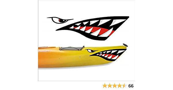 Kayak Canoe Shark Teeth Vinyl Decal Stickers Set of 2