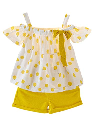 (Toddler Baby Girl Outfits 2Pcs Ruffle Print T-Shirt Tops and Shorts Pants Clothes Sets 1.5T)