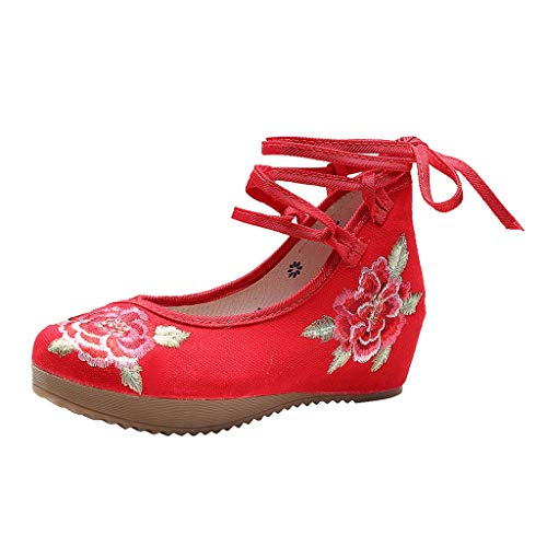 Toimothcn Embroidered Canvas Shoes Women Vintage Ankle Double Strap Ethnic Shoes (Red3,US:8) -