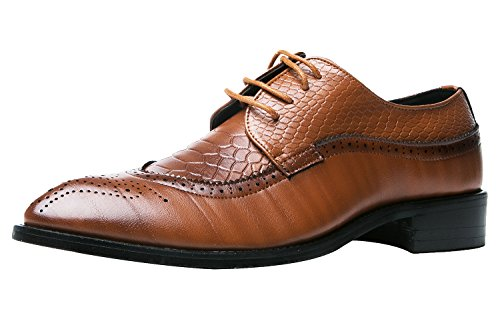 Bronze Multi Leather Footwear - Santimon Men Fashion Shoes Dress Pointed Toe Floral Patent Leather Lace up Oxford Bronze 11 D(M) US