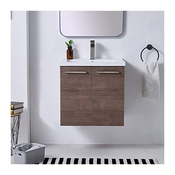 """Ufaucet Modern 21"""" Dark Brown Wood Grain Wall-Mounted Bathroom Vanity, Single 2-Door Bathroom Sink Cabinet Combo Set with Ceramic Vessel Sink - Eco-Friendly construction:MDF wood board and melamine finish. Dimensions:23.6*20.9*18.1 in. Vessal sink Size: 24*18.3*6.7 in.Shipped in two separate packages. Wall-mounted design is the best way to save your bathroom space, and avoid hygienic dead angle on the floor. - kitchen-dining-room-furniture, kitchen-dining-room, kitchen-dining-room-chairs - 41alSFaeJAL. SS570  -"""